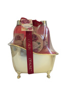 Rose Ylang & Patchouli Bath Gift Set in Golden Bath Tub. Shower gel, Body lotion, Body scrub, Bubble bath.
