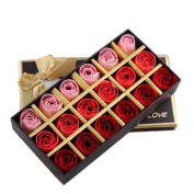 Miss Flora 18pcs Bath Soaps Rose Flower Plant Essential Oil Soap in Gift Box - Never Fade Away Romantic Rose Scented Bath Soap