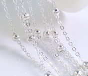 10ft (3m) Silver Plated Solid Brass Cable Bead Chain- Lead Nickel Free- 2mm