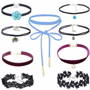 Tpocean 9 Pieces Black Burgundy Maroon Velvet Choker Necklaces Set with Blue Flowers Bell Elephant Pendant Black Lace Chokers for Women and Girls