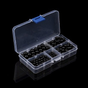 4-10mm Round Natural Black Onyx Agate Stone Beads Box Set