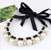 Interesting Women Double Row Adjustable Band Ribbon Beads Rhinestone Necklace Imitation Pearl Necklaces