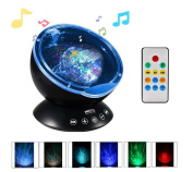 Remote Ocean Wave Projector Night Light,YiaMia Kids and Adult 12 LED & 7 Colours Night Lamp nd Built-in Mini Music Player for Living Room and Bedroom