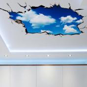 Kemilove 3D Bridge Sky Floor Wall Stickers Removable Mural Decals Vinyl Art Living Room