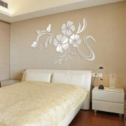 Kemilove 3D Mirror Floral Art Removable Wall Sticker Acrylic Mural Decal Home Room Decor