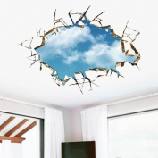 Kemilove 3D Blue Sky Wall Stickers Art Decals Mural Wallpaper Decor Home Room DIY Decoration