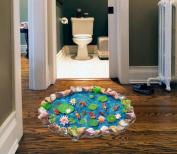 Kemilove DIY Fishponds 3D Bathroom Wall Stickers Anti Slip Floor Living Lotus Goldfish Pattern Waterproof Decor