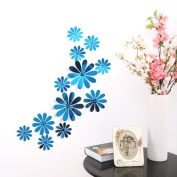 JUNKE 60 Pcs Unique Modern Design Home Office Decor 3D Mirror Effect Removable Wall Sticker Flower