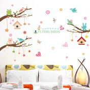 Wallpark Cartoon Cute Rabbit Cat Bird Creative Stars House Pendent Tree Branch Removable Wall Sticker Decal, Children Kids Baby Home Room Nursery DIY Decorative Adhesive Art Wall Mural