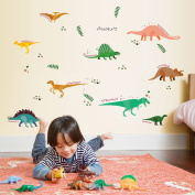 Wallpark Cartoon Cute Dinosaur World Removable Wall Sticker Decal, Children Kids Baby Home Room Nursery DIY Decorative Adhesive Art Wall Mural