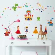 Wallpark Cartoon Fairy Tale Castle Princess Prince Removable Wall Sticker Decal, Children Kids Baby Home Room Nursery DIY Decorative Adhesive Art Wall Mural