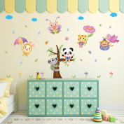 Wallpark Cute Koala Panda Lion Cartoon Animals Flying in Rain Removable Wall Sticker Decal, Children Kids Baby Home Room Nursery DIY Decorative Adhesive Art Wall Mural