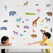Wallpark Cartoon Cute Little Animal Silhouette Removable Wall Sticker Decal, Children Kids Baby Home Room Nursery DIY Decorative Adhesive Art Wall Mural