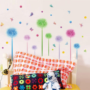 Wallpark Romantic Colourful Star Flower Ball & Butterfly Removable Wall Sticker Decal, Children Kids Baby Home Room Nursery DIY Decorative Adhesive Art Wall Mural