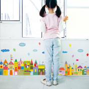 Wallpark Cartoon Colourful Town Small House Castle Baseboard Removable Wall Sticker Decal, Children Kids Baby Home Room Nursery DIY Decorative Adhesive Art Wall Mural