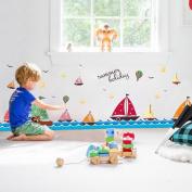 Wallpark Cartoon Blue Ocean Sea Sailboat Seagull Baseboard Removable Wall Sticker Decal, Children Kids Baby Home Room Nursery DIY Decorative Adhesive Art Wall Mural
