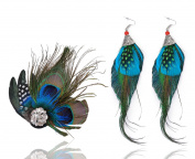 Fascigirl Fascinator Peacock Feather Wedding Hair Clip With Vitage Earring for Women