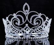 Janefashions Goddess Clear Austrian Crystal Rhinestone Tiara Full Crown Pageant Silver C802