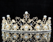 Janefashions Sunflower Pearl Austrian Rhinestone Crystal Tiara Hair Comb Crown Gold Prom T809