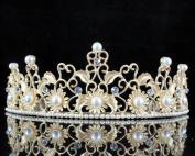 Janefashions Sunflower Pearl Austrian Rhinestone Crystal Tiara Hair Comb Crown Gold Prom T809