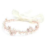 Crystal Bridal or Wedding Headband with Rose Gold Flowers, Ivory Pearls and Satin Ribbon