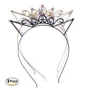 AWAYTR 3PC - Crystal Cat Ears Hair Hoop Headband for Women Girls Cats Ears Hairband Headwear Hair Accessories