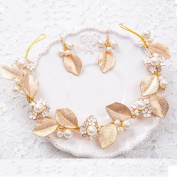Handmade Baroque Trendy Gold Leaf Headband And Earrings Set For Wedding/Sweet Sixteen/Quinceanera