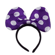 LED Light Up Jumbo Polka Dot Bow Headband Purple