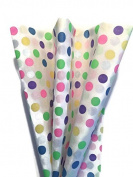 Printed Tissue Paper for Gift Wrapping with Design (Watercolour Polka Dots), 24 Large Sheets