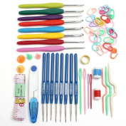 TONSEE Crochet Kit with Aluminium Needle Soft Grip Crochet Hooks Knitting Needles Kit Crocheting Tools Accessory Set