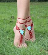 Flyusa Summer Beach Crochet Barefoot Sandals, Bridal Wedding Barefoot Sandals, Foot Jewellery, Footless Sandals, Slave Anklet, Wedding Accessories,Red Blue