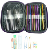 OR Pure 49pcs Mixed Aluminium Handle Crochet Hook Knitting Needle Sewing Tools Knit Weave Yarn Set with Case
