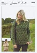 James Brett Ladies Knitting Pattern Womens Cabled Sweater Jumper Highlander Chunky