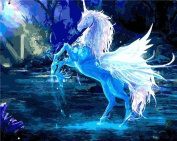 LB DIY Oil Painting , Paint By Number Kits For Kids & Adults - The White Horse -Unicom 41cm x 50cm .