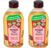 Monoi Tiki Tahiti Vanilla Coconut Oil (Pack of 2), Scented With Fresh Handpicked Tiare Flowers, 100% Made in Tahiti, 120ml