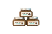 Mocha Mud Body Scrub Trio - Natural exfoliants of sugar and ground coffee combines with Moroccan lava clay and anti-oxidant rich cocoa powder, creating a mud mask for your body.