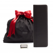 Leatherology Father's Day Gift Set with Tie Case - Full Grain Leather Leather - Black Onyx
