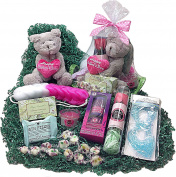 Aromatic Spa Bath Mothers Day Gift Basket - Teddy Bear, Candle, Shower Gel, Body Butter, Soap Petals, Bath Fizzer, Eye Mask, Sponge, Soap & Candy
