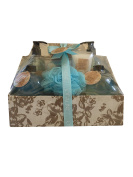 Olive Oil Infused Bath Gift Cloth Basket Set - Shower gel, Body lotion, Bath Fizzer, Body scrub, Bubble bath, Bath salt, Puff.
