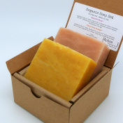 Rose & Ylang Ylang Soap Set (2 Full Size Bars) - Rose, Ylang Ylang - 85% Organic Ingredients All Natural FACE and BODY - Great for SENSITIVE SKIN