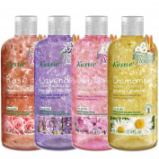 [4-PACK] Rose, Lavender, Chamomile, Cherry Blossom Flower Petals Shower Bath Gel - Handpicked Natural Flower Petals - with Essential Oil - Refreshing and Moisturising - For All Skin
