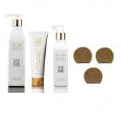 Korean HGS Herbal Hair Loss Fast Regrowth Gold Hair Loss Shampoo, Tonic & Treatment Set Damaged Care Nutrition Essence + Dark Black Ginseng anti hair loss Soap 3ea