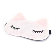Jiaying-US 1 pc Microfiber Cute Cartoon Eye Mask-Padded Rest Travel Sleeping Use Eye Mask-Blindfold Shade Light Cover Mask-Pink
