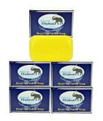 Dead Sea Sulphur Soap 130ml 5 Pack (5 Soap Bars) by Natural Elephant