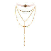 Gothic Triangle Gold Necklaces Multilayered Alloy Chokers Set