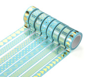 AGU Bright Foil Gold Washi Tape For Notebook Decoration DIY Gift Set Of 8