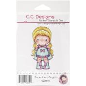 C.C. Designs Superhero Birgitta Swiss Pixie Cling Stamp, 8.3cm by 4.4cm
