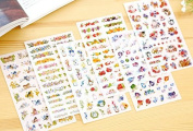 ONOR-Tech 6 Sheets Lovely Cute Adorable Decorative Adhesive Sticker Tape / Kids Craft Scrapbooking Sticker Set for Diary, Album, Laptop, Cellphone, Journals (Style-2