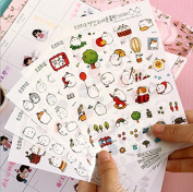 ONOR-Tech 6 Sheets Lovely Cute Adorable Decorative Adhesive Sticker Tape / Kids Craft Scrapbooking Sticker Set for Diary, Album, Laptop, Cellphone, Journals