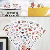 ONOR-Tech 6 Sheets Lovely Cute Adorable Decorative Adhesive Sticker Tape / Kids Craft Scrapbooking Sticker Set for Diary, Album, Laptop, Cellphone, Journals (90x180mm